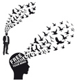 Businessman with flying birds vector image