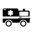 black icon ambulance car cartoon vector image