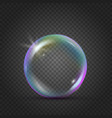 colorful realistic bubble with rainbow reflection vector image