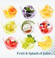 set of fruit juice splash peach orange pear vector image