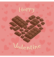 Valentine Heart Chocolate Bar Pink vector image