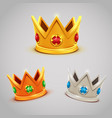 set of gold silver bronze crowns with jewels vector image