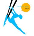 Anti-gravity yoga poses woman silhouette vector image