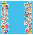 Funny Animals card template blue background vector image