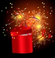 red gift box with sparkler vector image vector image
