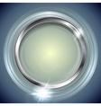 Bright shiny background with metal circle frame vector image