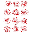 chinese horoscope animals set for design vector image