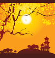 chinese landscape with branches vector image