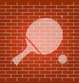ping pong paddle with ball whitish icon vector image