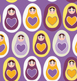 Seamless pattern orange Russian dolls on a purple vector image