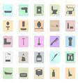 bath accessories set black icon on color vector image