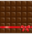 Chocolate Background With Red Bow vector image