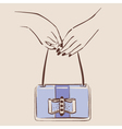 woman hand holding a stylish bag vector image vector image