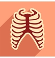 flat icon with long shadow human rib vector image