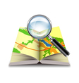 Map book and magnifier isolated on white vector image