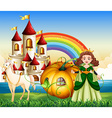 Queen riding on pumpkin carriage vector image