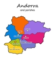 Andorra administrative map with parishes vector image