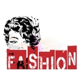 Fashion girl in sketch-style vector image