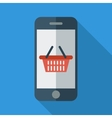 Phone with shopping basket vector image