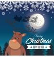 card merry christmas reindeer santa flying sleigh vector image