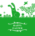easter bunny greeting green vector image