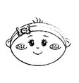 figure cute baby girl face with ribbon bow in the vector image