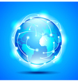 Glowing earth globe on blue background vector image