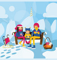happy family sitting on the bench on the hill in vector image