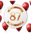 Golden number eighty seven years anniversary vector image