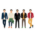 young men in different male clothes vector image vector image