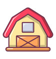 red horse barn icon cartoon style vector image