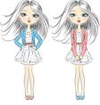 fashion girls in summer dress vector image