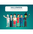 Flat Design of Halloween Monster Costumes vector image