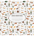 Hunting pattern Dog hunting equipment Flat style vector image