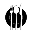 Fork knife and spoon on a plate vector image