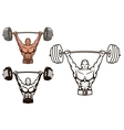 Bodybuilder with barbell vector image