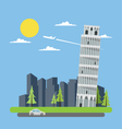 Flat design leaning tower of Pisa vector image