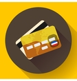 Golden VIP Credit Card icon with long shadow Flat vector image