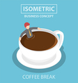 Isometric businessman relaxing in a cup of coffee vector image