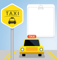 Taxi with Sign Front View vector image