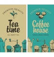 Tea and coffee with pictures of kitchen equipment vector image