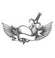 winged heart pierced by dagger drawn in tattoo vector image