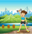 A lady exercising near the river vector image