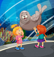 Two girls looking at seal swimming vector image