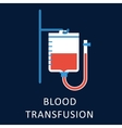 Blood transfusion flat icon with blood bag vector image