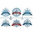 Nautical logos set vector image