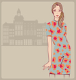 Young girl leopard dress vector image