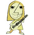 Abstract Cartoon rock guitar player playin vector image