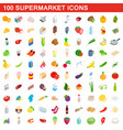 100 supermarket icons set isometric 3d style vector image