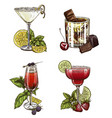 set of four summer cocktails vector image